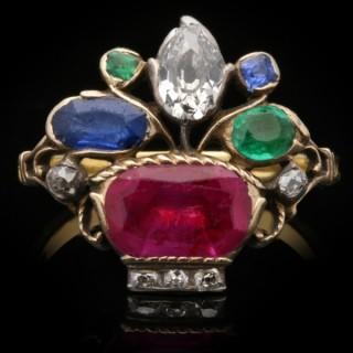 A very rare Georgian diamond, ruby, emerald and sapphire giardinetti ring, circa 1760.
