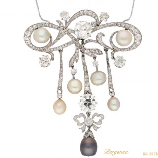 Belle Époque natural pearl and diamond pendant/brooch, circa 1905.