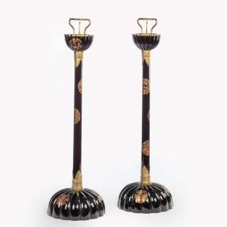 A rare pair of Meiji period lacquer Temple Candlesticks,