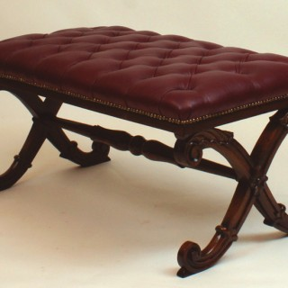 Antique Rosewood and Leather William 1V Center Stool