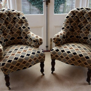 Pair of Antique French Upholstered Armchairs
