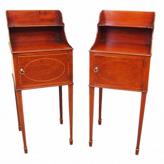 Antique 18th Century Mahogany Pair Of Bedside Cabinets