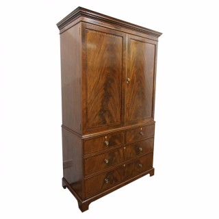 Inlaid Mahogany Linen Press by Maple and Co