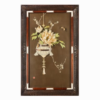 A superb Meiji period mother-of-pearl and ivory inlaid lacquer panel by Hiromitsu