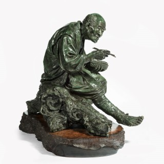 A superb and large Tokyo school bronze of a peasant by Udagawa Kazuo,