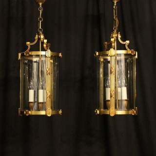 French Pair Of Gilded Bronze Antique Lanterns