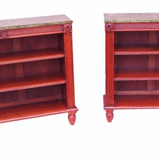 Antique Regency Period Satinwood Pair Of Bookcases