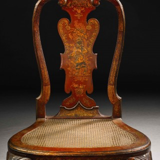 A Pair of George II Scarlet Japanned Chairs