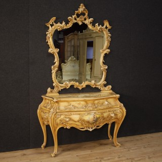 20th Century Venetian Lacquered Dresser With Mirror