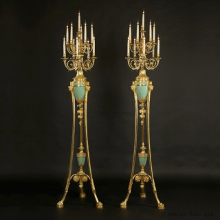Pair of Louis XVI Style Ten-Light Torchère Candelabra
