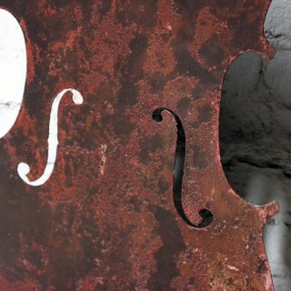 A Wonderful Late-19thC Folk Art Silhouette Sheet Metal Trade Sign Formed as a Violin; from the Workshops of Victor Enzensperger, Vienna, Austria c.1892-7