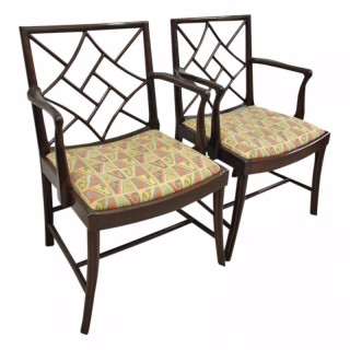 Pair of Mahogany Cockpen Armchairs