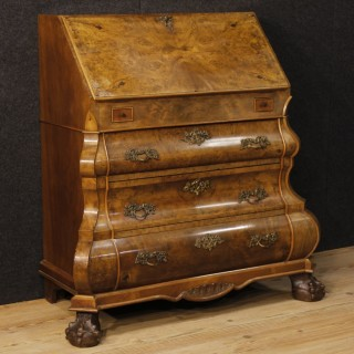 20th Century Dutch Inlaid Bureau In Walnut