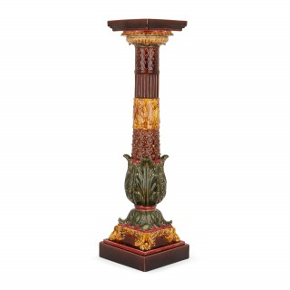 Antique  French majolica pedestal from Sarreguemines
