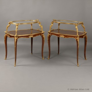 Near Pair of Louis XV Style Parquetry Étagère Tables
