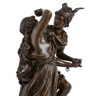 Patinated bronze sculptural group of Perseus freeing Andromeda by Grégoire