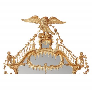 English antique giltwood overmantle mirror after Chippendale, from the  William IV period