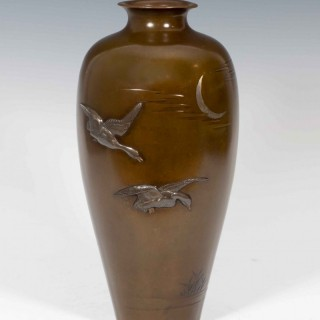 LARGE JAPANESE BRONZE ONLAID MIXED METAL FLYING GEESE VASE SIGNED