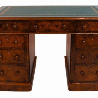 Small Antique Figured Walnut Pedestal Desk