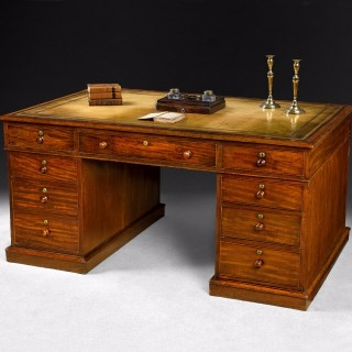 George IV Period Mahogany Partners Pedestal Desk