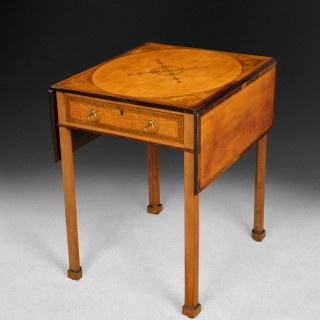 Chippendale Period Satinwood, Mahogany and Marquetry Pembroke Table