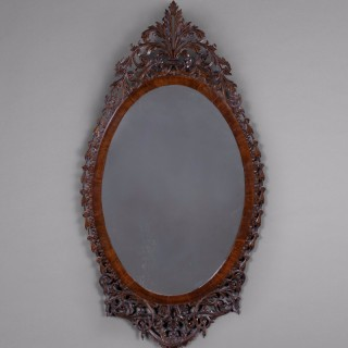 George III period Mahogany Oval Fretwork Mirror