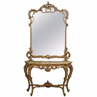 Early XXth Century Gilded Console Table & Mirror
