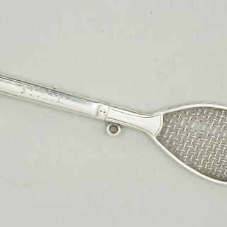 Silver Propelling Pencil Tennis Racket.