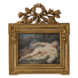 Portrait miniature of a nude Girl, reclining on drapery in a landscape, blue ribbon in her hair, c.1760
