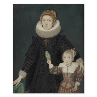 A Mother and Child; she, wearing black dress, white ruff and large, jewelled cross; the child, holding a parrot, wears fawn and rust-coloured tunic, white lawn collar and cap with fresh flowers, cherries in their left hand, gilded border, c.1620