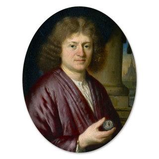 Portrait miniature of a Gentleman, wearing purple robes over a white shirt, holding a silver pocket watch, a column to the sitter's left, a building in the background, c.1685-88