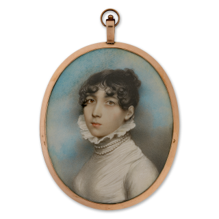 Portrait miniature of a Lady, traditionally called Georgina Sophia Daniell (bap.1791), wearing white dress with high, frilled collar and double row of pearls, c.1805
