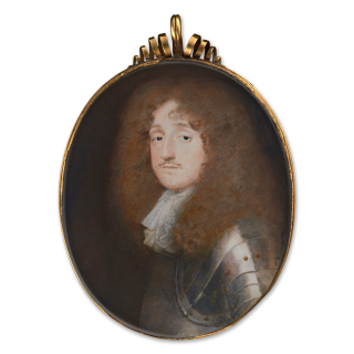 Portrait miniature of Baptist May (1628-97), wearing brass-studded armour and white lace jabot, with a full-bottomed wig
