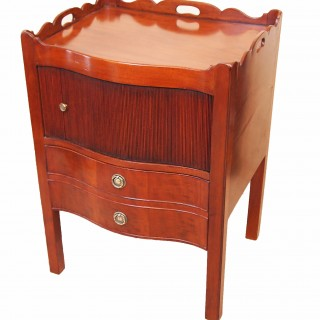 Antique Georgian Serpentine Mahogany Bedside Night Table