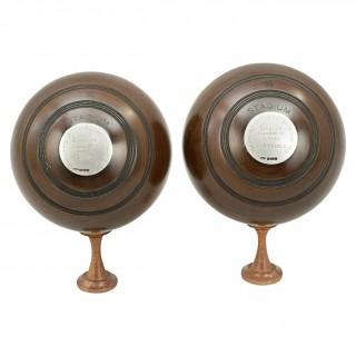 Pair of Presentation Lawn Bowls by Slazenger
