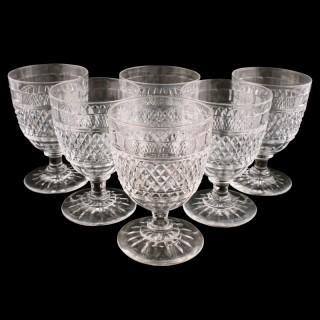 Set of Six Large Wine Glasses