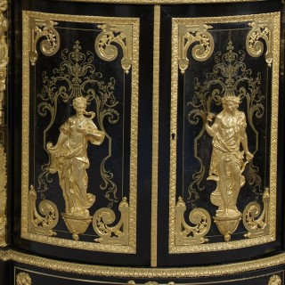 Pair of Louis XIV Style Boulle Corner Cabinets