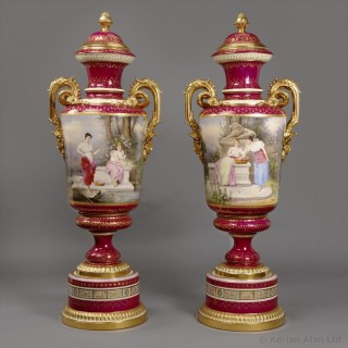 Pair of Magenta Vienna Porcelain Exhibition Vases
