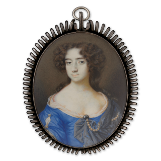 Portrait miniature of a Lady, called Catherine of Braganza (1638-1705), wearing blue dress and grey stole pinned with pearls and diamond brooch, her sleeve trimmed with pearls and slashed to reveal white underdress, c.1675