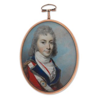 Portrait miniature of Captain Charles Howard Bulkeley (1765-1814), wearing the uniform of a battalion company officer the Coldstream Guards, c.1795