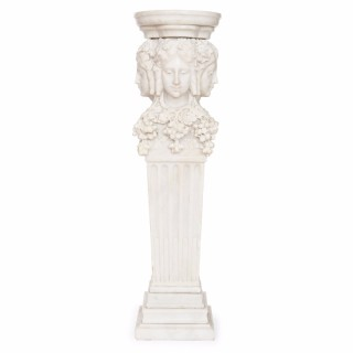 Italian white marble  antique pedestal depicting Dionysus