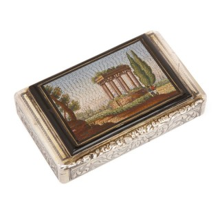 Antique chased silver snuff box with Grand Tour style micromosaic plaque