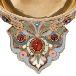 Russian bejewelled cloisonné enamel charka by Ovchinnikov