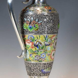 EXCEPTIONALLY RARE JAPANESE SILVER AND CLOISONNE ENAMEL CLARET JUG