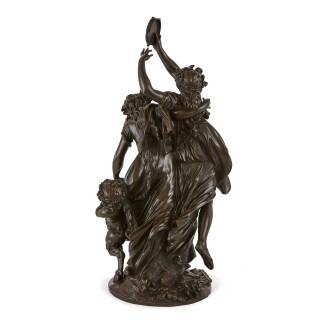 Antique patinated bronze Bacchanalia  after Clodion