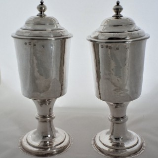 Very rare pair large Charles II silver chalices London 1675 by WG