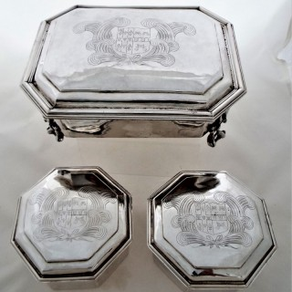 Very rare armorial Charles II silver dressing/toilet set London 1679 Ralph Leake