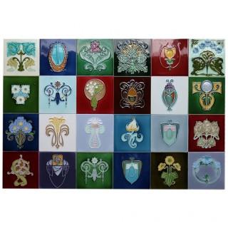 c.1905 Hasselt Belgium 24 tile Art Nouveau panel