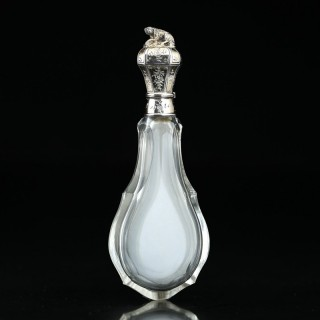c.1870 French cut crystal scent perfume bottle, silver gilt dog top