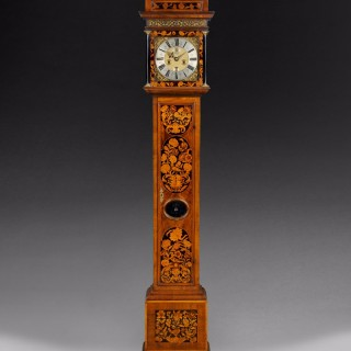 JamesII/William and Mary Period Marquetry Inlaid Walnut Longcase Clock